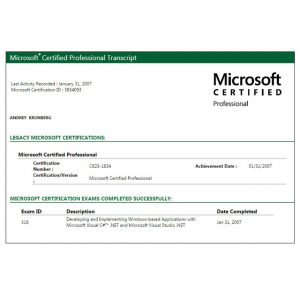 Сертификат Microsoft ID 3834093